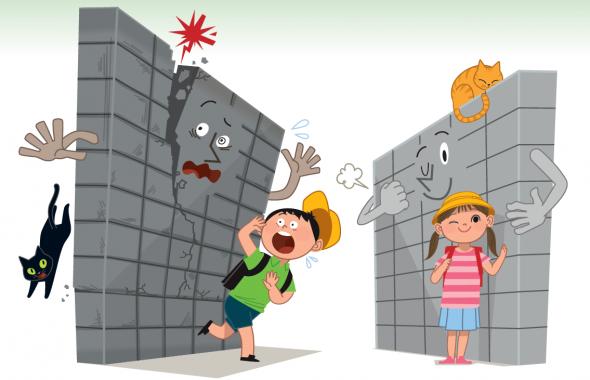 危険なブロック塀と子供のイラスト。一般財団法人 日本建築防災協会が発行している「あなたの周りは大丈夫? 今すぐブロック塀等の点検を!~安全なブロック塀等を目指して~」という啓発パンフレットに使用されているイラスト。